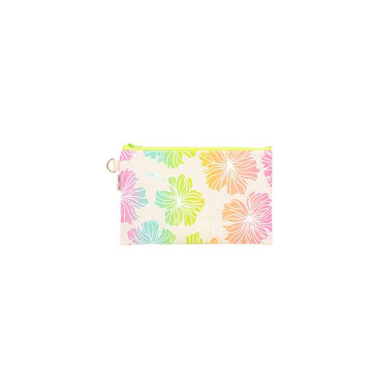 Classic Zipper Clutch • Hibiscus • White over Rainbow Ombre