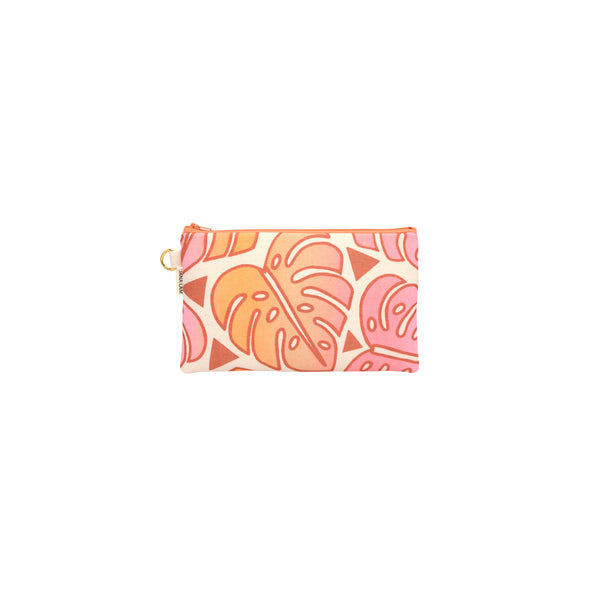 Classic Zipper Clutch • Monstera • Copper over Pink Tangerine and Tan Ombre