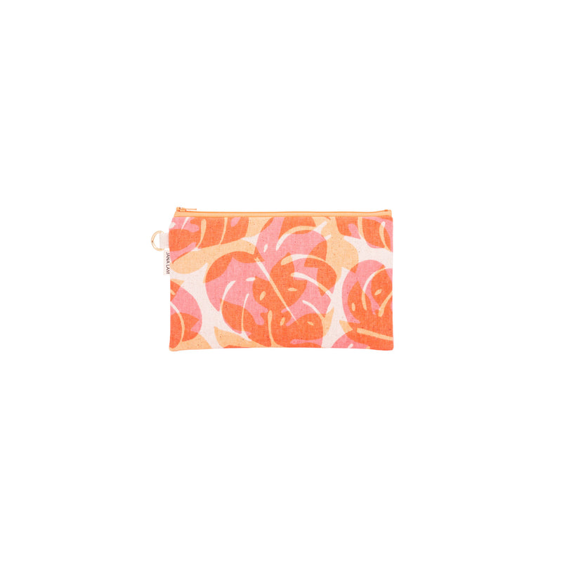 Classic Zipper Clutch • Monstera and Papaya Leaf Shadow • Red Orange over Tangerine