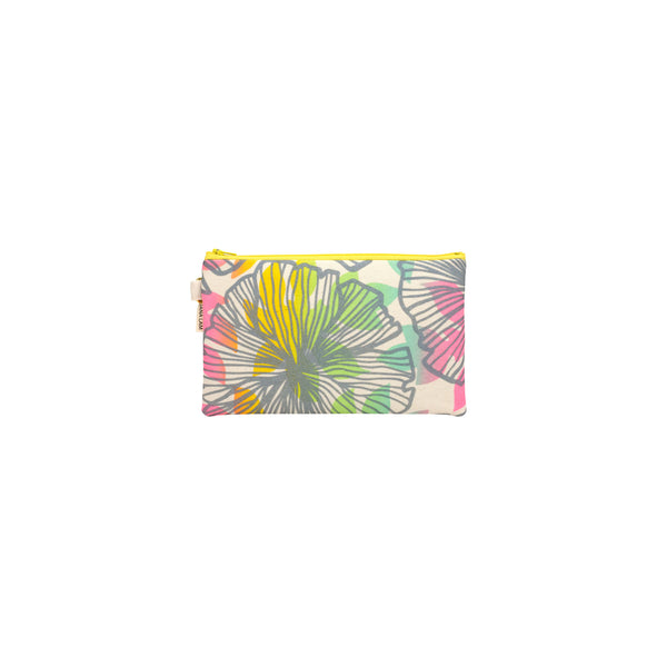Classic Zipper Clutch • Seaflower • Metallic Gray over Rainbow Ombre