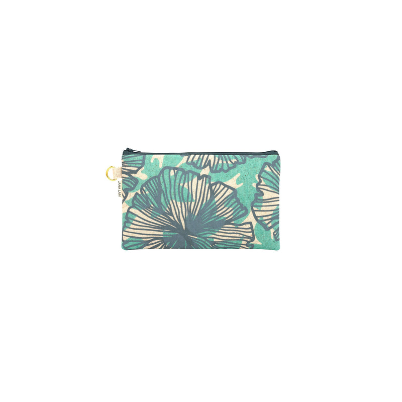 Classic Zipper Clutch • Seaflower and Papaya Leaf Shadow • Gray over Blue