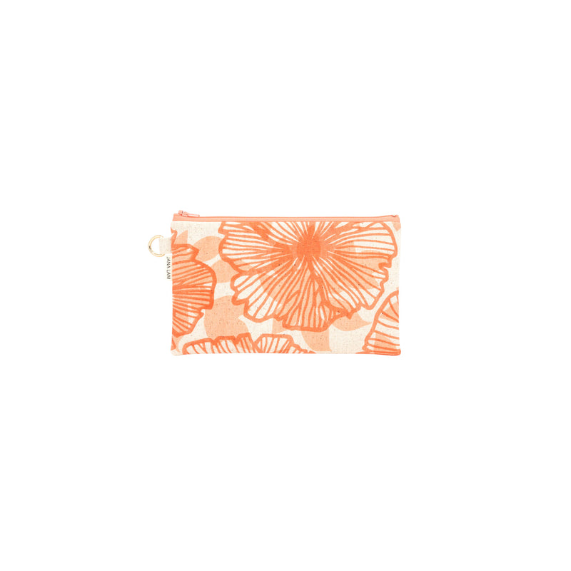 Classic Zipper Clutch • Seaflower and Papaya Shadow • Rust