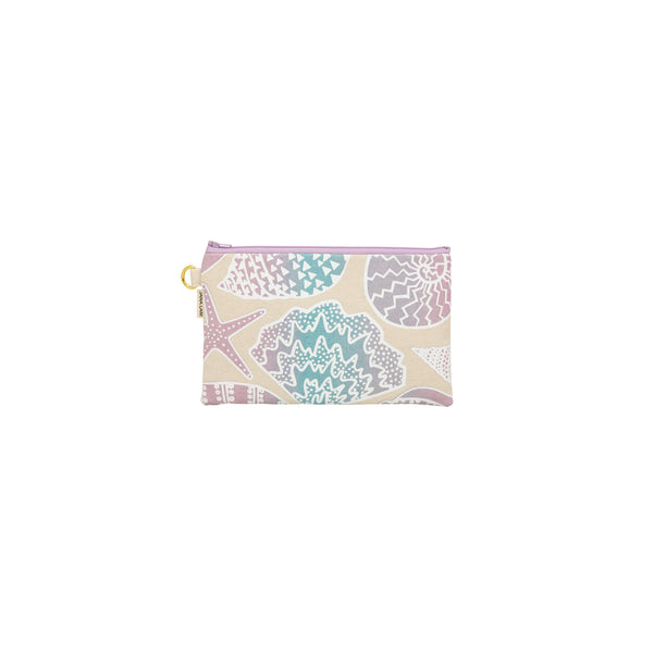 Classic Zipper Clutch • Shellini • White over Blue and Lavender Ombre