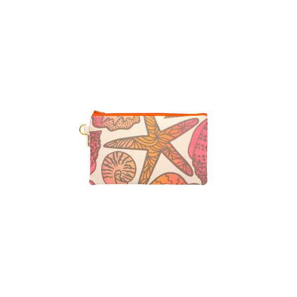 Classic Zipper Clutch • Shellini • Taupe over Tangerine, Sand and Bright Coral Ombre