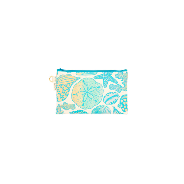 Classic Zipper Clutch • Seashells • Teal over Ocean and Sand Ombre