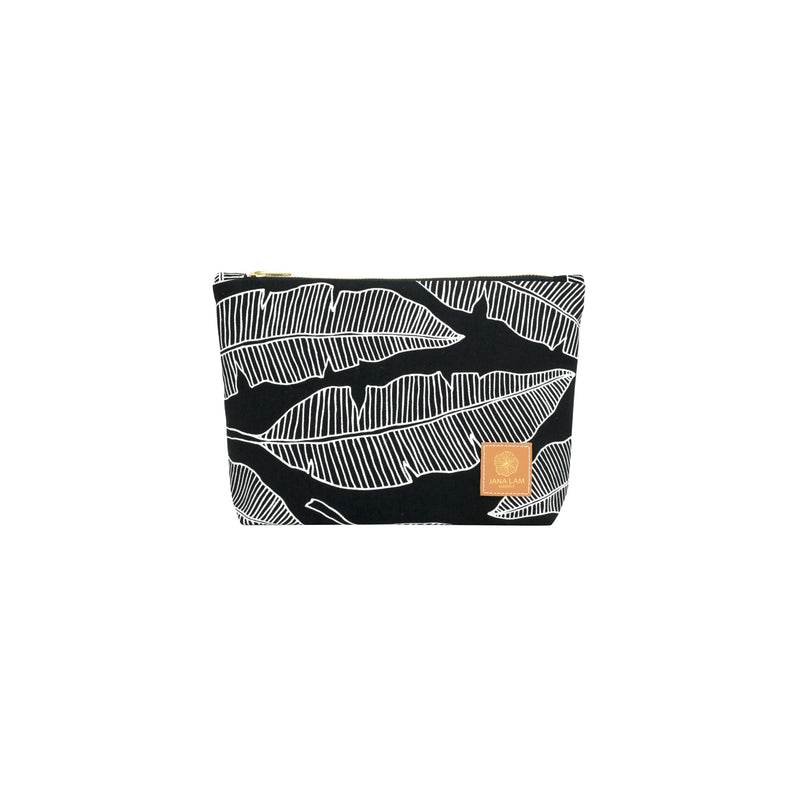 Cosmetic Zipper Clutch • Banana Leaf • White on Black Fabric