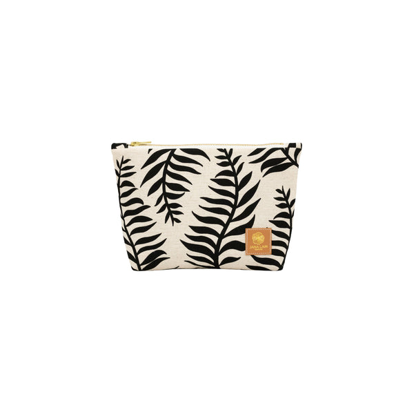 Cosmetic Zipper Clutch • Palm Shadow • Black on Natural Fabric