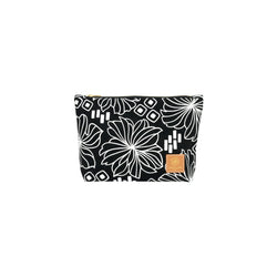 Cosmetic Zipper Clutch • Retro Blooms • White on Black Fabric