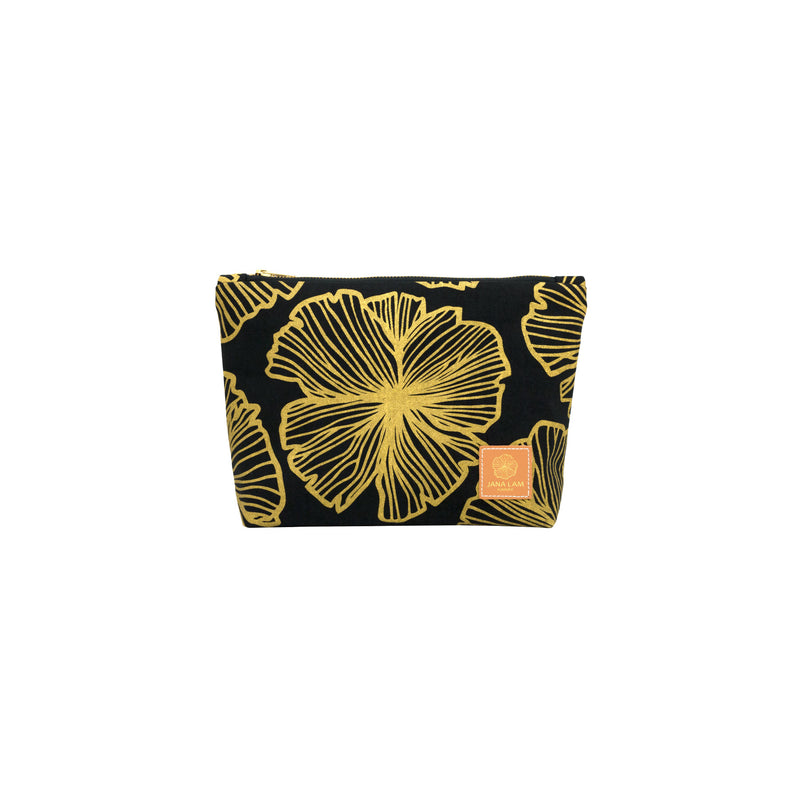 Cosmetic Zipper Clutch • Seaflower • Gold on Black Fabric