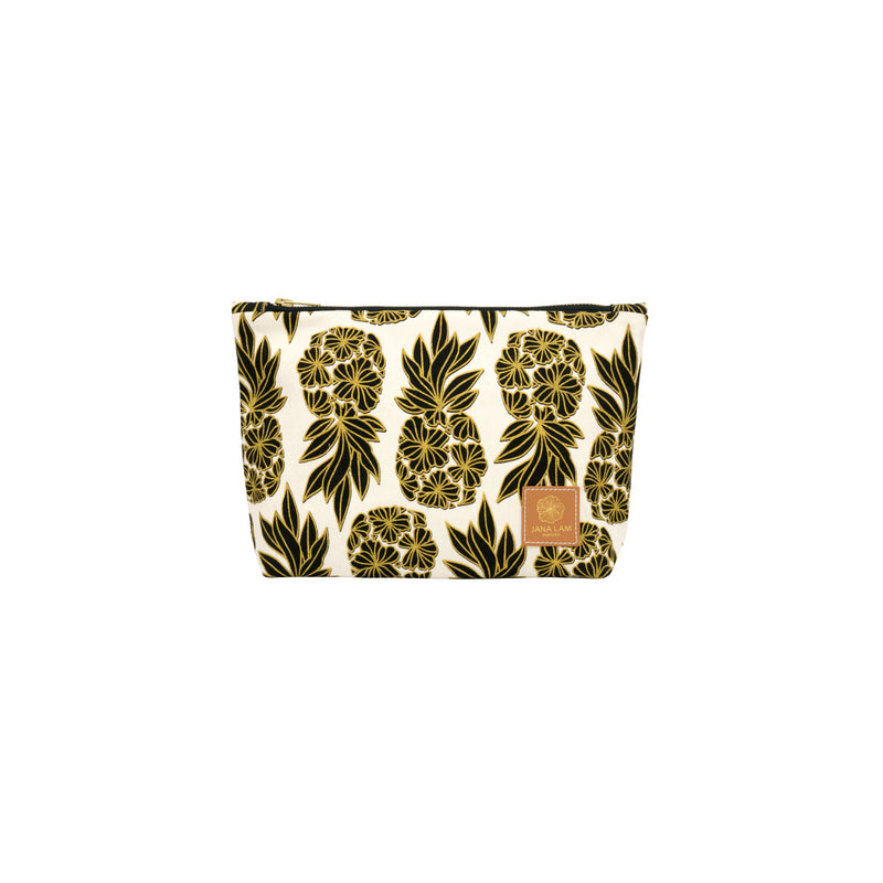Cosmetic Zipper Clutch • Seaflower Pineapple • Gold over Black on Natural Fabric