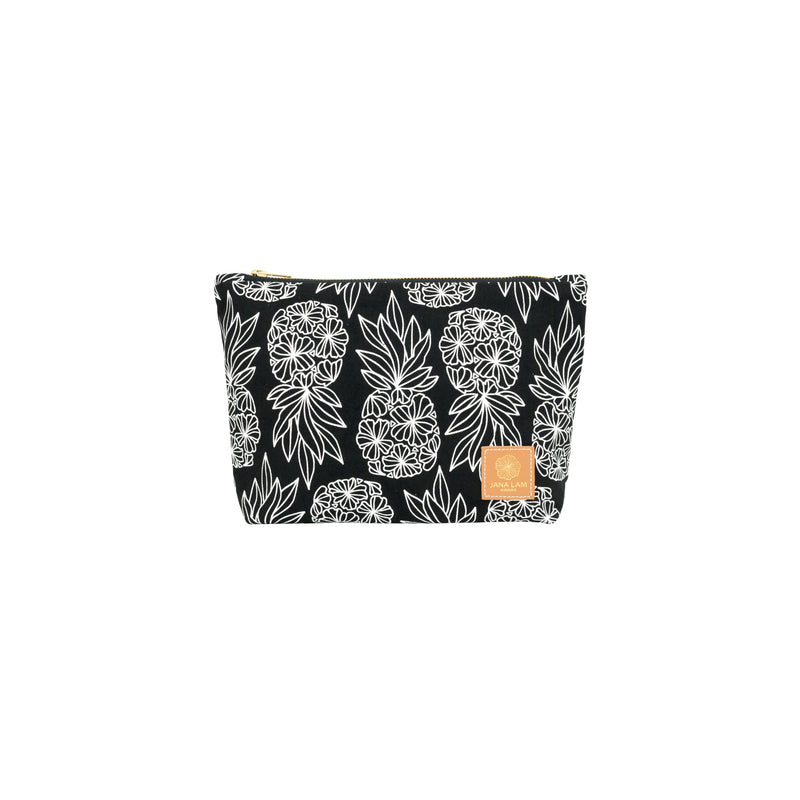 Cosmetic Zipper Clutch • Seaflower Pineapple • White on Black Fabric