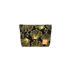 Cosmetic Zipper Clutch • Sunny • Gold on Black Fabric