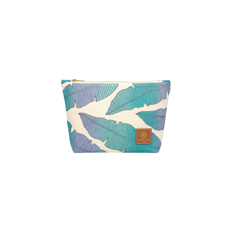 Cosmetic Zipper Clutch • Banana Leaf • Metallic Gray over Periwinkle, Aqua, and Turquoise Ombre