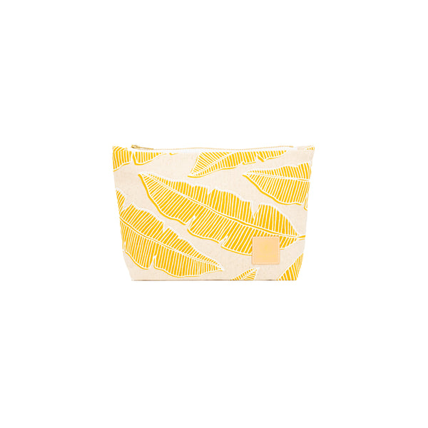 Cosmetic Zipper Clutch • Banana Leaf • White over Mustard Yellow
