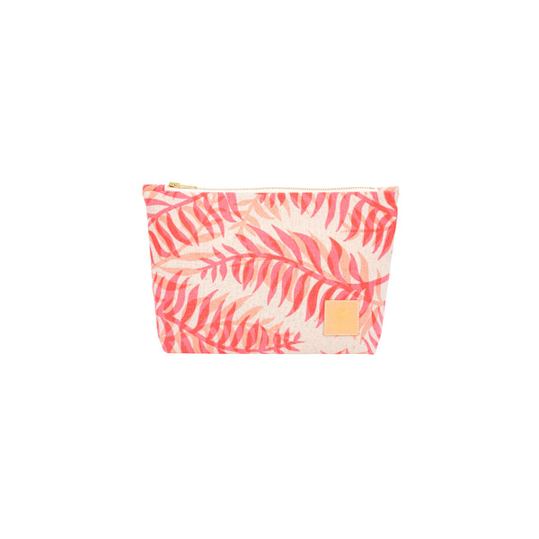 Cosmetic Zipper Clutch • Double Palm • Fluorescent Coral over Peach
