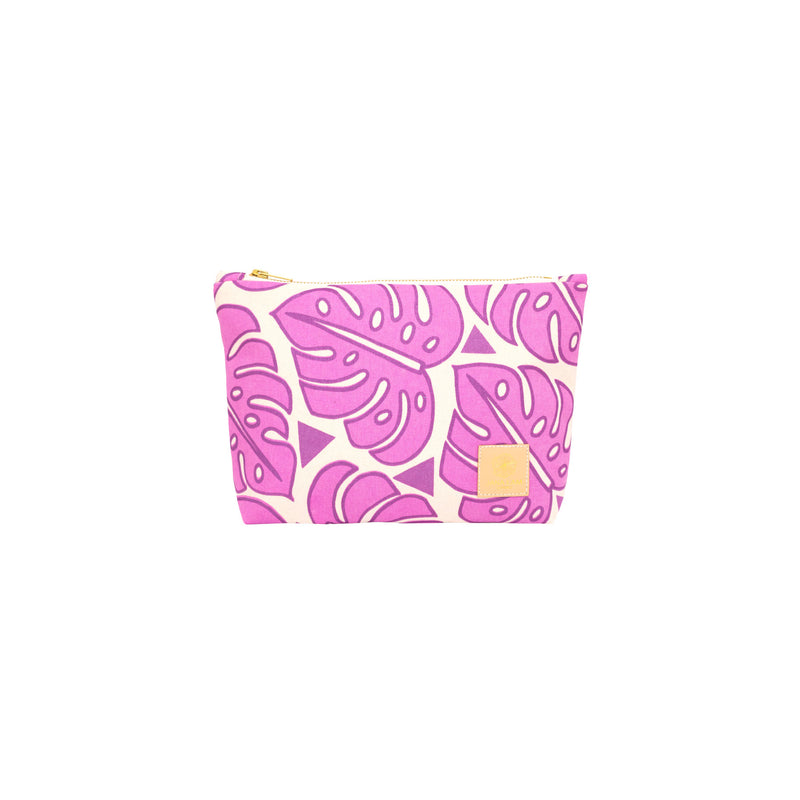 Cosmetic Zipper Clutch • Monstera • Metallic Purple over Fuchsia
