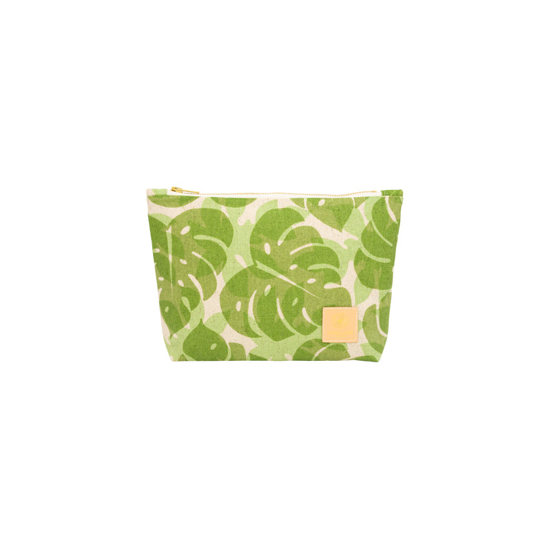 Cosmetic Zipper Clutch • Monstera and Papaya Leaf Shadow • Sage over Mint Green