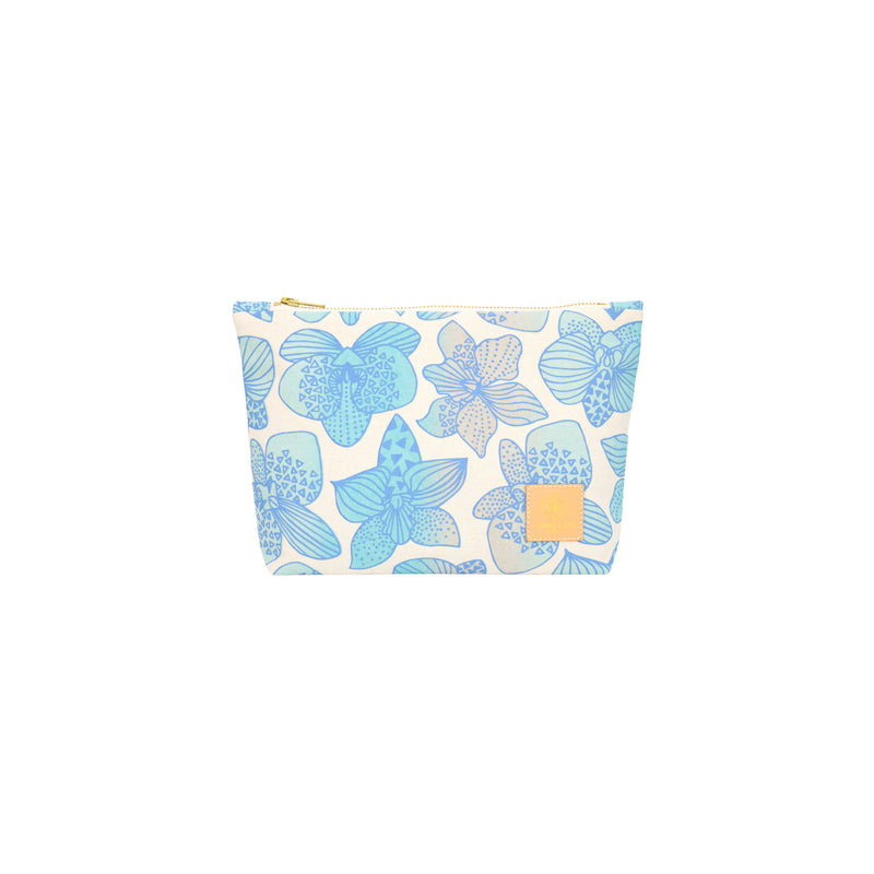 Cosmetic Zipper Clutch • Orchid • Blue over Ocean Sky Blue and Tan Ombre