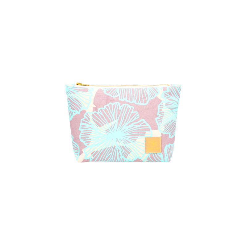 Cosmetic Zipper Clutch • Seaflower • Mint over Warm Gray