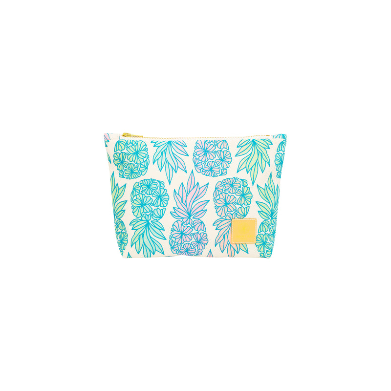Cosmetic Zipper Clutch • Seaflower Pineapple • Teal over Soft Rainbow Ombre