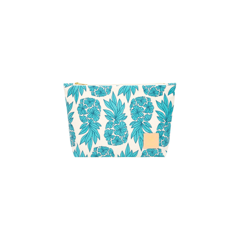 Cosmetic Zipper Clutch • Seaflower Pineapple • Navy over Turquoise