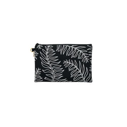 Oversize Zipper Clutch • Palm • White on Black Fabric