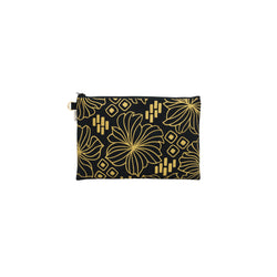 Oversize Zipper Clutch • Retro Blooms • Gold on Black Fabric