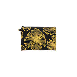Oversize Zipper Clutch • Seaflower • Gold on Black Fabric