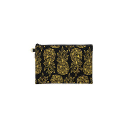 Oversize Zipper Clutch • Seaflower Pineapple • Gold on Black Fabric