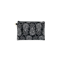 Oversize Zipper Clutch • Seaflower Pineapple • White on Black Fabric