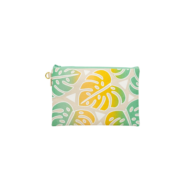 Oversize Zipper Clutch • Monstera • White over Yellow, Tangerine, Aqua Ombre
