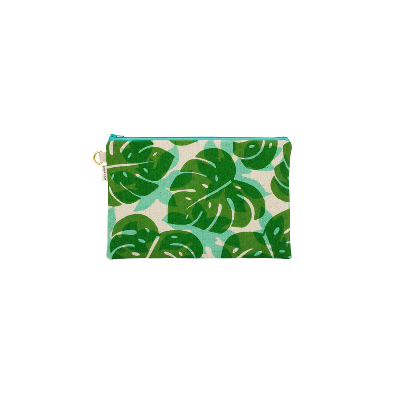 Oversize Zipper Clutch • Monstera and Papaya Leaf Shadow • Green over Aqua