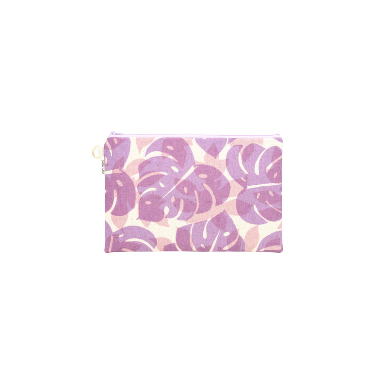 Oversize Zipper Clutch • Monstera and Papaya Leaf Shadow • Purple over Mauve