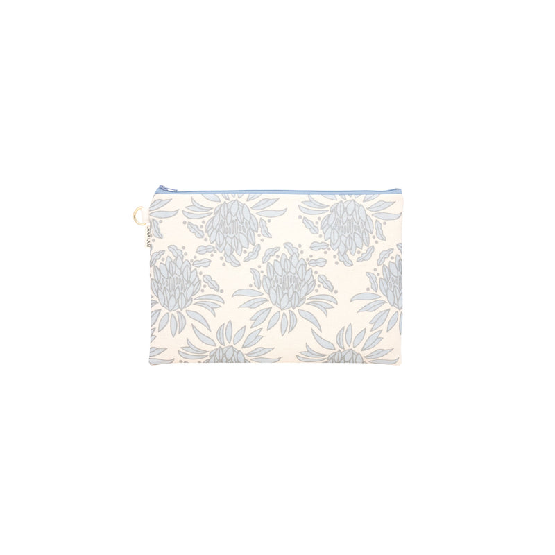 Oversize Zipper Clutch • Night Blooming Cereus • Sliver of Light Blue