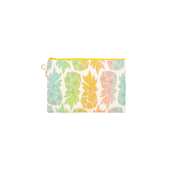 Oversize Zipper Clutch • Seaflower Pineapple • Silver over Aqua Lime Tangerine and Coral Ombre