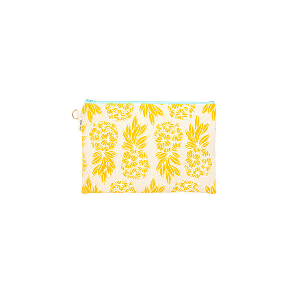 Oversize Zipper Clutch • Seaflower Pineapple • White over Warm Yellow