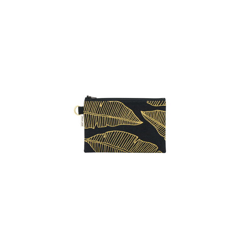 Petite Zipper Clutch • Banana Leaf • Gold on Black Fabric