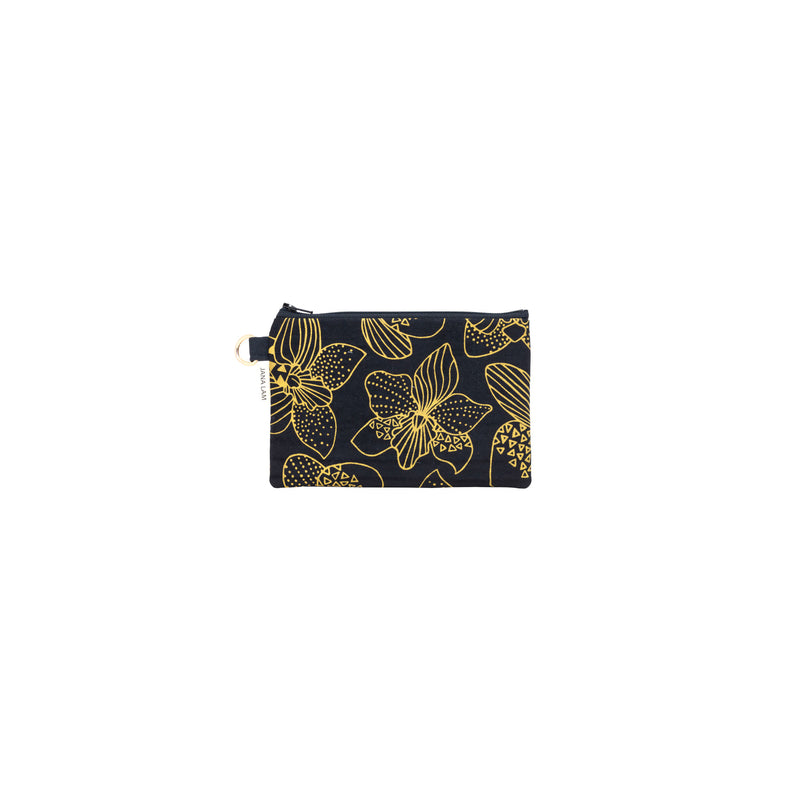 Petite Zipper Clutch • Orchid • Gold on Black Fabric