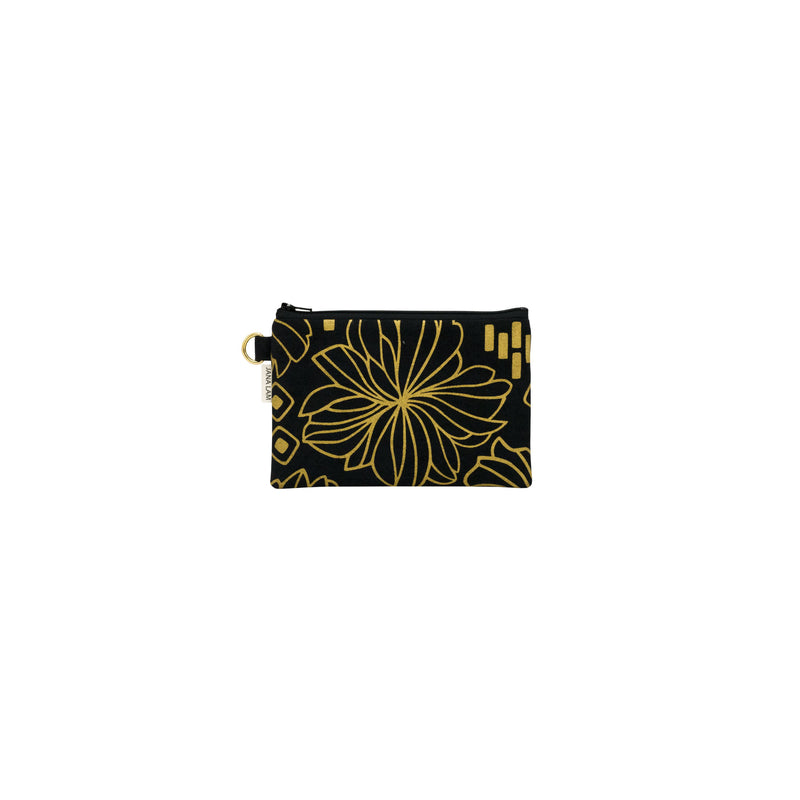 Petite Zipper Clutch • Retro Blooms • Gold on Black Fabric
