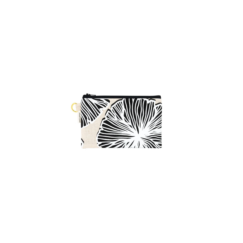 Petite Zipper Clutch • Seaflower • White over Black on Natural