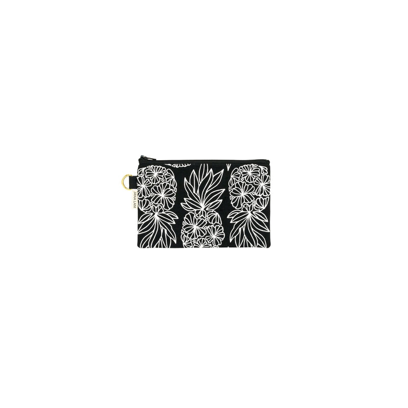Petite Zipper Clutch • Seaflower Pineapple • White on Black Fabric