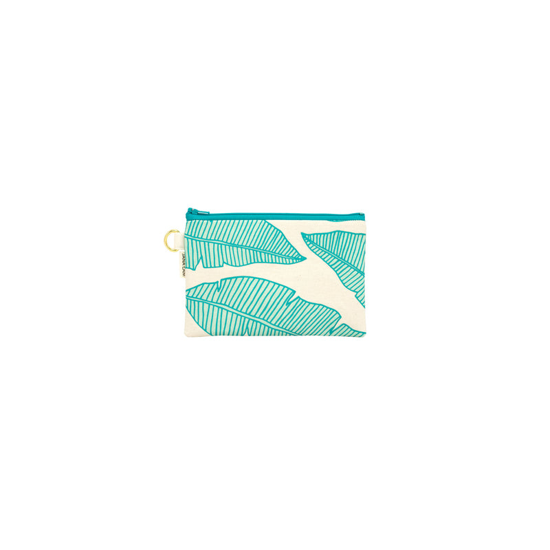 Petite Zipper Clutch • Banana Leaf • Turquoise over Mint