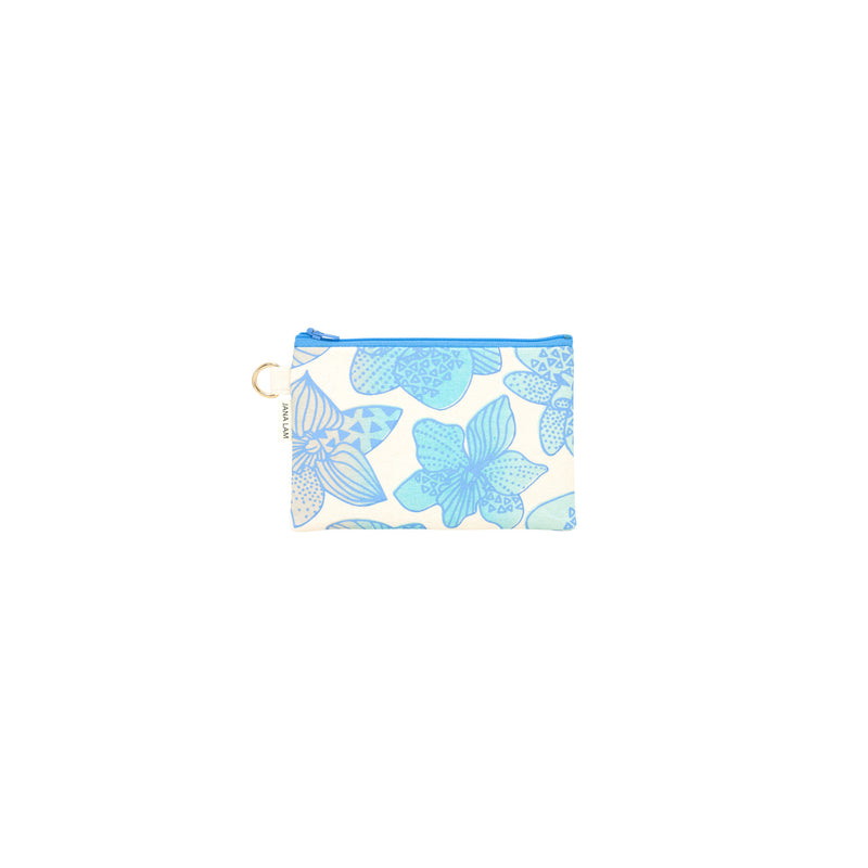 Petite Zipper Clutch • Orchid • Blue over Ocean Sky Blue and Tan Ombre