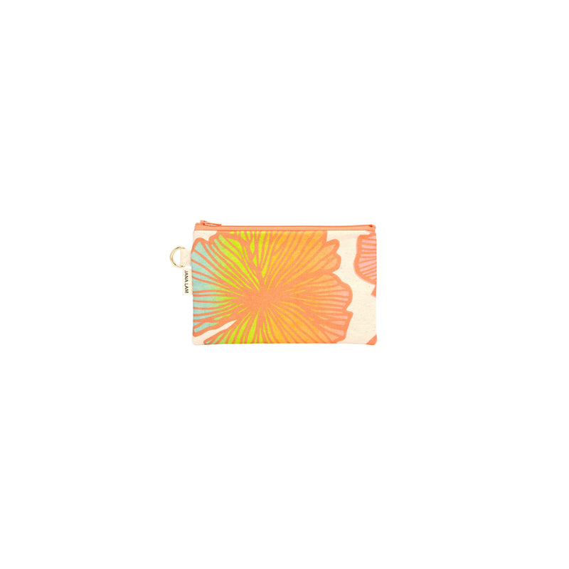 Petite Zipper Clutch • Seaflower • Bronze over Blue, Citron, Tangerine, and Coral Ombre