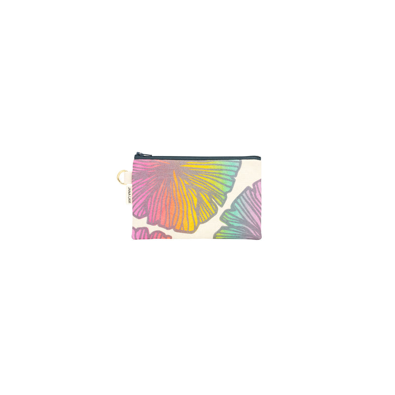 Petite Zipper Clutch • Seaflower • Metallic Gray over Rainbow Ombre