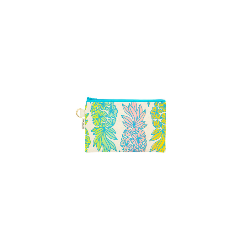 Petite Zipper Clutch • Seaflower Pineapple • Blue over Light Rainbow Ombre
