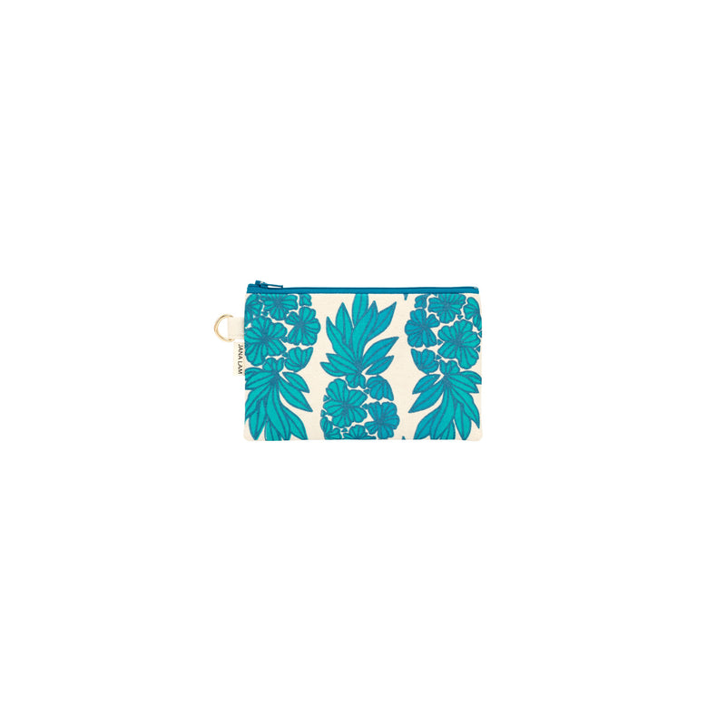 Petite Zipper Clutch • Seaflower Pineapple • Navy over Teal and Turquoise Ombre