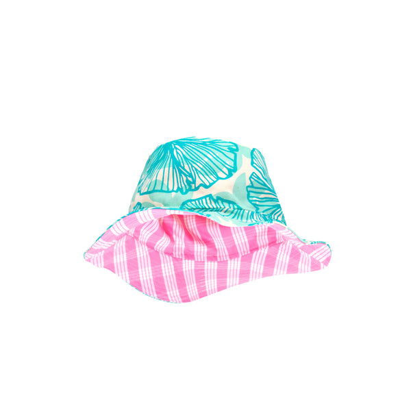 Bucket Hat • Turquoise Seaflower Over Aqua with Pink Palaka • Matt Bruening Label + Jana Lam