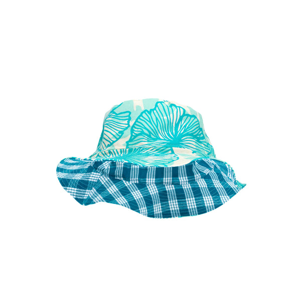 Bucket Hat • Turquoise Seaflower Over Aqua with Teal Palaka • Matt Bruening Label + Jana Lam