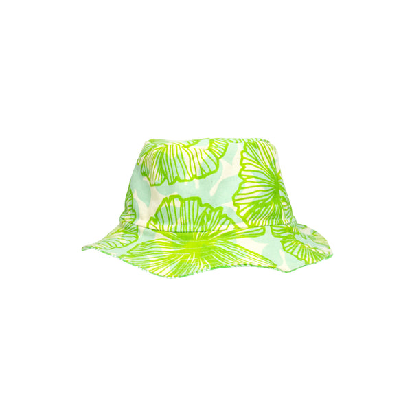 Bucket Hat • Lime Green Seaflower Over Light Blue with Green Palaka • Matt Bruening Label + Jana Lam